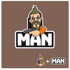 Beard man mascot logo
