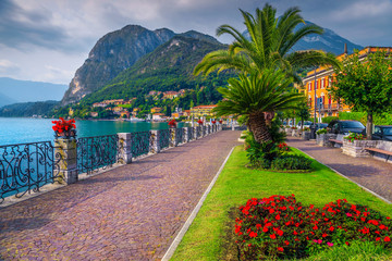 Wall Mural - Colorful flowers and spectacular walkway, Lake Como, Menaggio, Lombardy, Italy