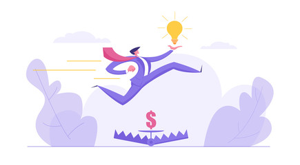 Career Growth, Ambition Business Concept with Businessman Character Jumping over Money in Bear Trap Holding Idea Lightbulb. Banner with Creative Man for Website, Web Page. Flat Vector Illustration