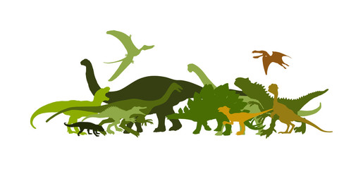 Dinosaurs large collection. T Rex vector silhouette isolated on white background. Tyrannosaurus shadow symbol. Jurassic era. Dino sign. Triceratops, Stegosaurus, Brachiosaurus, Pteranodon, Spinosaurus