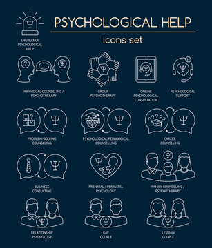 Psychological help. Set of white linear icons symbols for psychology counseling, consulting, psychotherapy. Flat design. Vector