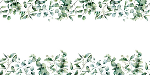 Watercolor eucalyptus seamless border. Hand painted eucalyptus branch and leaves isolated on white background. Floral illustration for design, print, fabric or background. Wall mural