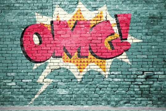 OMG Comic  Ziegelsteinmauer Graffiti