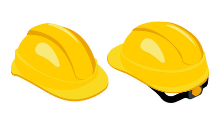 Isometric work safety helmet. Yellow hard hat. Rear and front view. Skullgard helmet isolated on white background. Protective work equipment. Vector illustration.