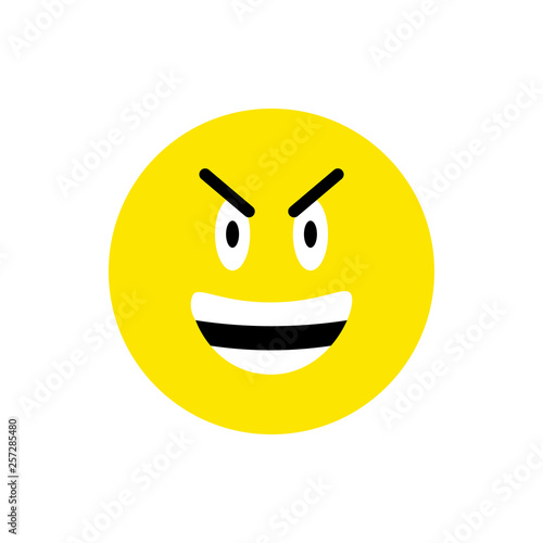 Angry face Emoji icon  Funny Emoticon circle symbol  Angry, devil