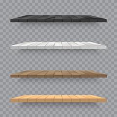 Set of wooden shelves on transparent background. Vector.