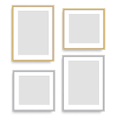 Realistic silver and golden square picture frame. Vector.