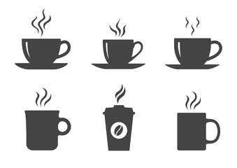 Coffee cup icons set. Vector