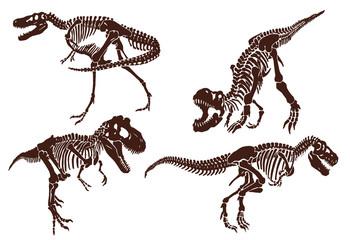 Graphical vintage set of dinosaur skeletons ,retro background,vector sketch