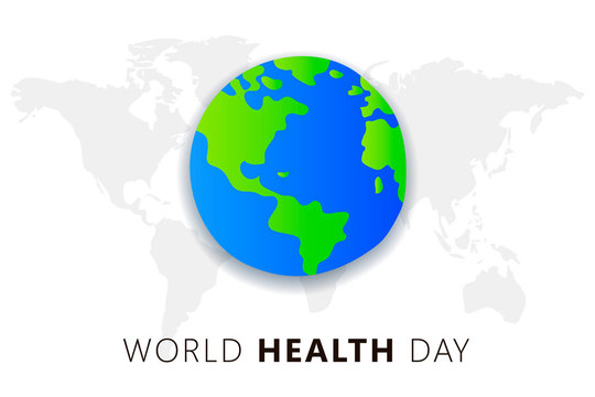 World health Day. 7th april. The Earth Vector isolated  illustration on white background with maps