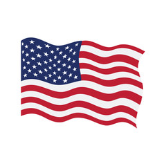 Waving flag of United States. Vector illustration design
