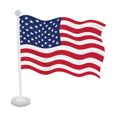 Waving flag of United States on a flagpole. Vector illustration design