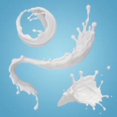 Wall Mural - 3d render, milk spiral splashing, liquid wave, white splash, paint, loops, curvy jet, isolated on blue background