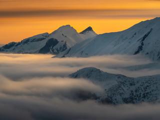 Fototapeta High Tatras in the foggy morning. obraz