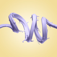 Wall Mural - 3d render, abstract liquid jet shape, violet wavy splash isolated on yellow background, pastel color splashing, paint,