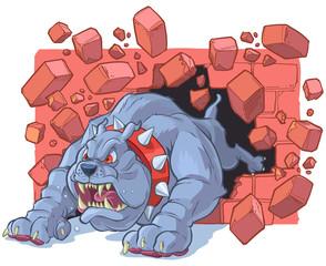 Angry Cartoon Bulldog Mascot Crashing Through Brick Wall