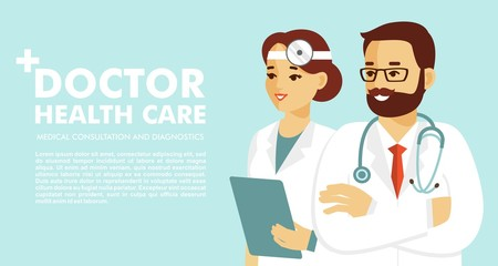 Medical background with doctors characters. Web banner with team of medicals staff. Health care and medicine concept.