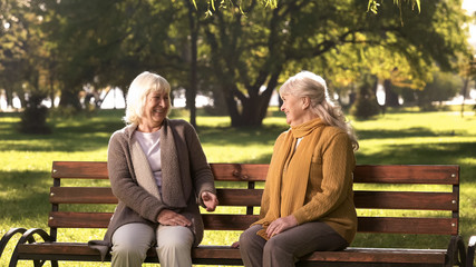 Two old fiends talking and laughing sitting on bench in park, retirement age - fototapety na wymiar