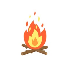 Bonfire burning flame icon. Fire wood and campfire cartoon flat vector illustration. Icon isolated on white background for web, print, decoration.