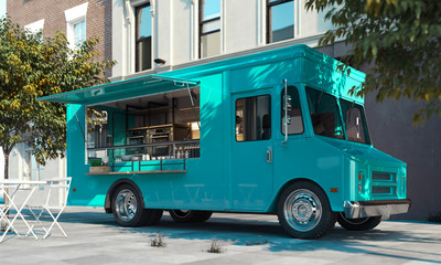 Aquamarine food truck with detailed interior on street. Takeaway. 3d rendering.