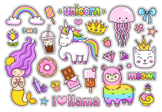 Big stickers pack. Kawaii little mermaid, llama, cat, rainbow magic unicorn, jellyfish, ice cream and crown. Set of cute cartoon characters.