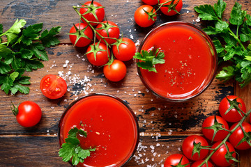 Fresh homemade tomato juice.Top view with copy space.