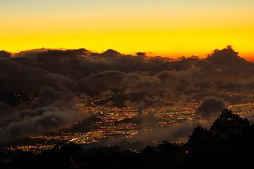 Poster Volcano Cartago Valley Sunset