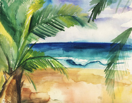 Watercolor illustration of a tropical beach, waves and palms.