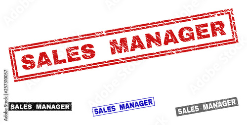Grunge SALES MANAGER rectangle stamp seals isolated on a