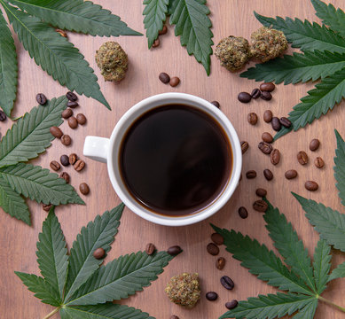 Coffee cup and cannabis with beans, nugs and marijuana leaves over wood background