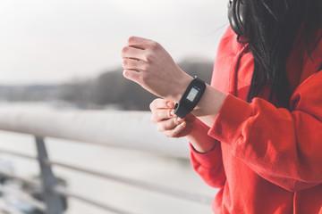 Pedometer on female wrist