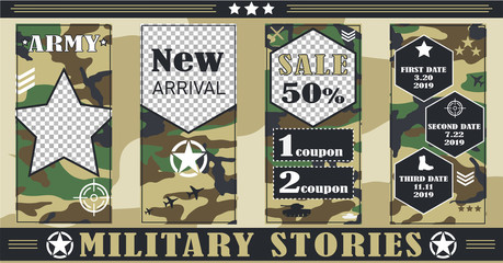 Military, army story templates for social networks, Sales, discounts, Military and police equipment. Vector illustration, pictures in flat style.