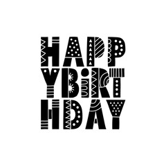Happy Birthday with Bold Patterns Black and White vector lineart