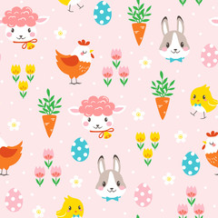 Children Easter pattern with cute cartoon characters