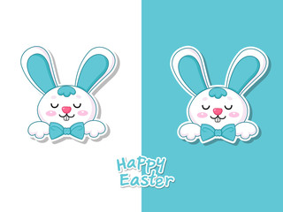 Colorful Happy Easter greeting card with cute cartoon bunny. Vector illustration decorative element on Easter Day