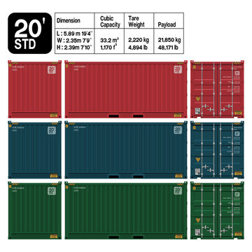 Container 20 ft. standard ( front ,side,back) . Dimension of the container is accurate refer to the table.