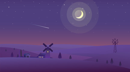Vector illustration of night time nature landscape in the Countryside with Farm and a Crescent moon