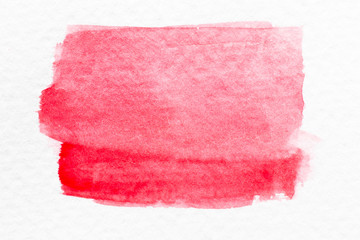 Red color watercolor handdrawing as brush or banner on white paper background