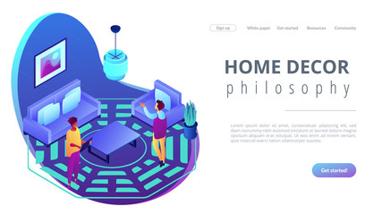 Feng shui interior isometric 3D landing page. Wall mural