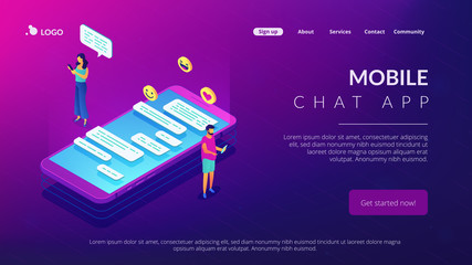 Messaging application isometric 3D landing page.