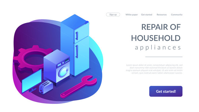 Repair of household appliances concept isometric 3D landing page.