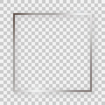Silver shiny square frame with glowing effects