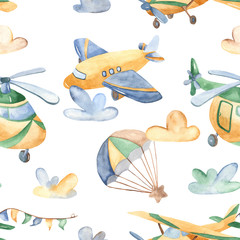 Watercolor seamless pattern with cute airplanes, helicopters, airship, balloon. Texture for baby shower, packaging, wallpaper, fabrics, textiles, baby design.