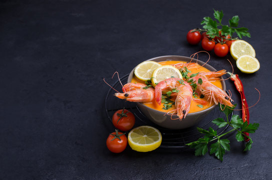 Traditional creamy soup with shrimp
