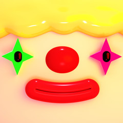 Cartoon clown face close-up. 3d rendering picture.