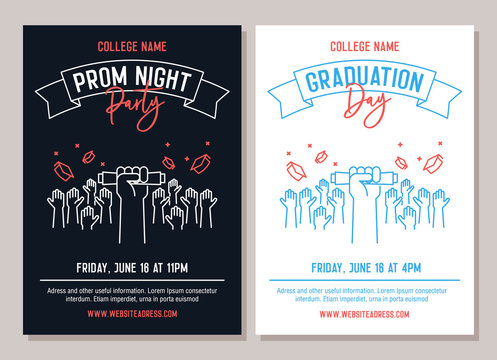 Set of 2 academic posters. Vector illustration for Prom Night Party invitations and another for Graduation day events. Hands raised throwing academic hats