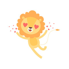 Cute Lion with Heart Shaped Eyes, Funny African Animal Cartoon Character Vector Illustration