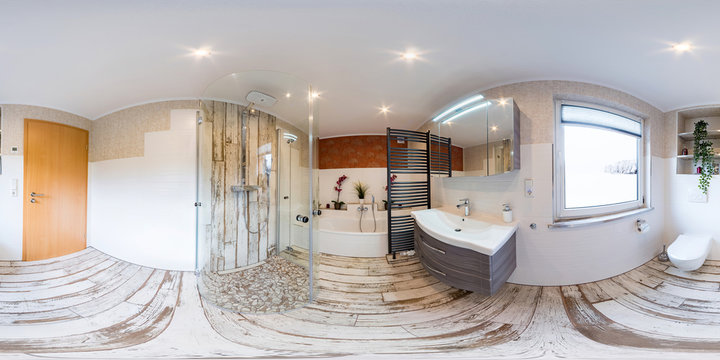 3D Spherical 360 degrees, seamless panorama of bathroom interior vintage style
