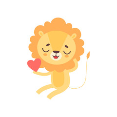 Cute Lion Holding Red Heart, Funny African Animal Cartoon Character Vector Illustration