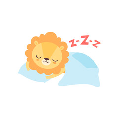 Cute Lion Sleeping in Bed, Funny African Animal Cartoon Character Vector Illustration